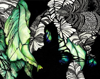 Black White and Green Illustrated Ink Blank Card ' Hibiscus Leaves'