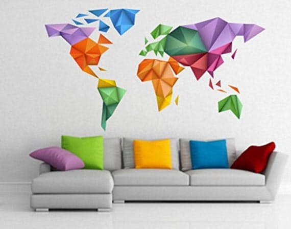 origami colors world map sticker origami decals origami. Black Bedroom Furniture Sets. Home Design Ideas