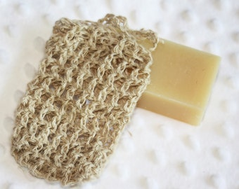 Hemp Crocheted Soap Bag, Soap Saver, or Cell Phone Holder, Hemp Soap Pouch, Eco-friendly, Exfoliating Natural Hemp Shower Sack
