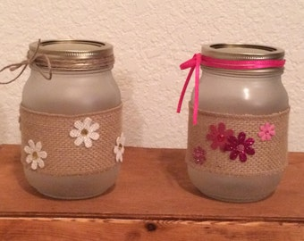 Frosted mason jar decorated in burlap