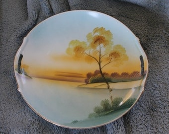 Meito Fine China, Handpainted in Japan, Serving Dish w Handles, Maybe Hand Painted, Lovely Asian Scenery, Dish, Decorative Plate, Home Decor