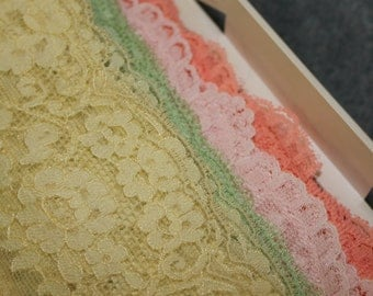 Four Types of Lace Trim, Yellow, Pink, Dark Pink, and Green