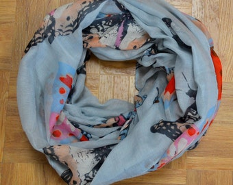 Grey Butterfly Light Weight X-large Infinity Scarf Loop Cowl