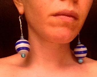 Candy Cane Sphere Long Dangle Earrings
