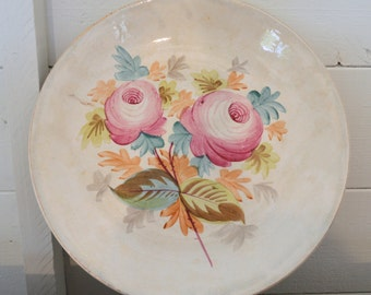 floral vintage hand painted plate, very pretty with gold gilding