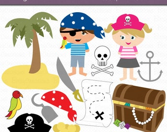 Pirate Children Digital Art Set Clipart Commercial Use Clip Art INSTANT DOWNLOAD Pirate Clipart