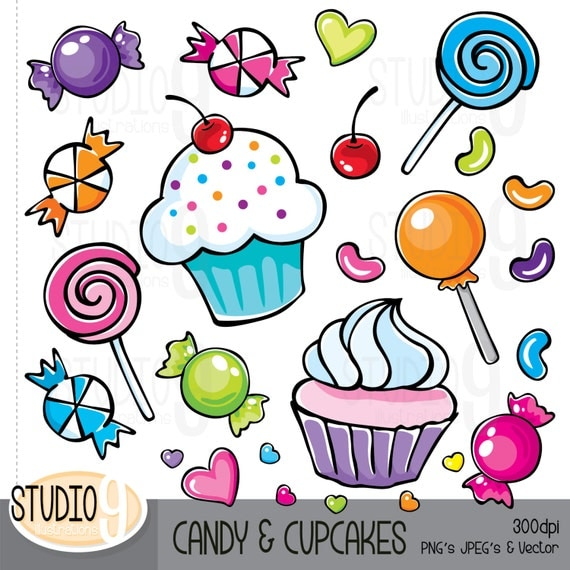 Clip Art Clipart Candy candy cupcakes clip art clipart by studio9illustrations cupcake art