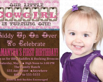 Cowgirl Western Photo Birthday Invitation