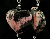 Rhodonite Heart Dangle Earrings