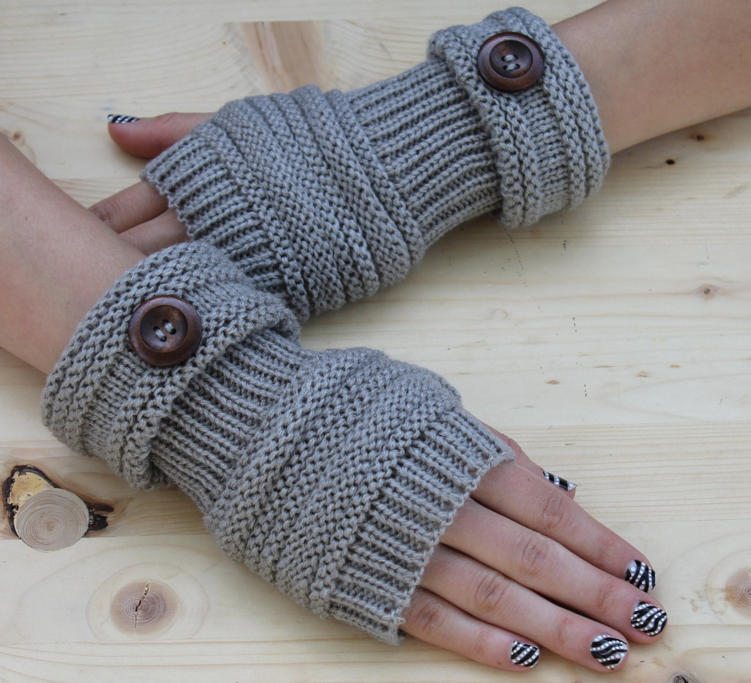 Knitted Arm Warmers GRAY Winter Knit Arm Warmers Fingerless