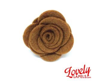 FLOWER LAPEL PIN: Peat Moss Brown Wool Felt Rosette. Custom Mens Handmade Wedding Boutonniere, Brooches, Lovely Lapels