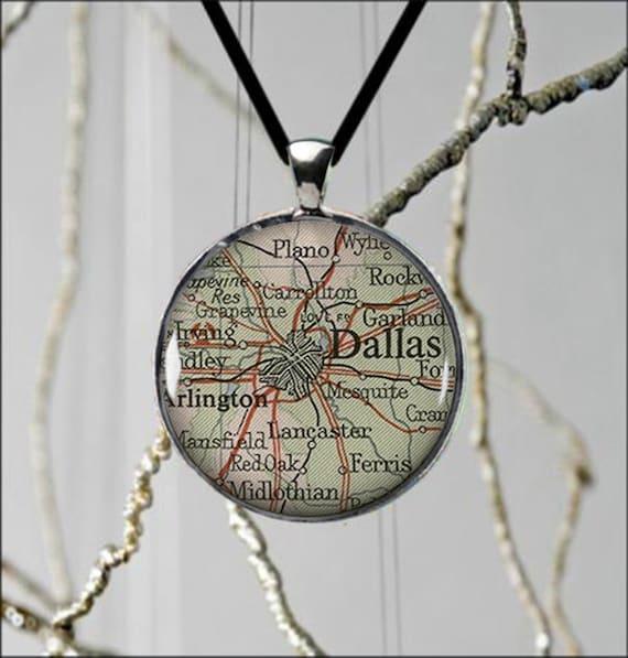 dallas texas state map necklace usa custom jewelry beautiful