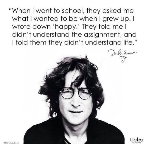 John Lennon Happiness Quote Poster John Lennon Happiness a4