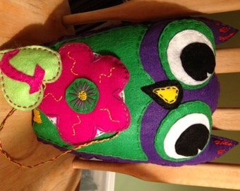 Colorful felt applique Owl