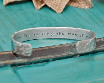 Thank you for raising the man of my dreams bracelet, hand stamped, wedding gift