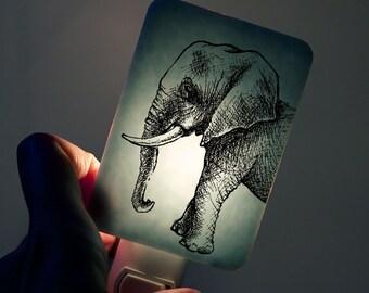 Elephant Nightlight on Powder Blue Fused Glass Childrens Nightlight - Gift for Baby Shower or Nature Lover - pastel blue
