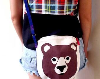 Bear Bag, Bear Purse, Crossbody Bag Sling Cotton, Crossbody Bag Women, Crossbody Purse Women, Vegan Crossbody Bag, Zip Bag, Zip Around Purse