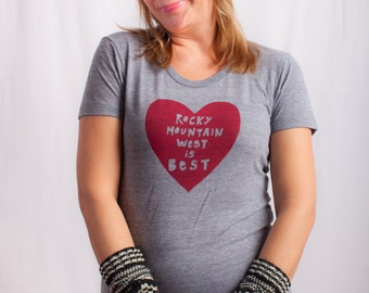 rocky mountain shirt, rocky mountain tshirt, graphic t, state pride, woman fashion t, gray tshirt, screen print, silkscreen, free shipping