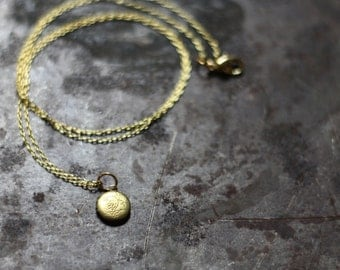 Teeny Tiny Vintage Round Locket Necklace