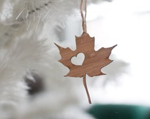 Canada Ornament - I heart Canada Ornament - Bamboo Canada Charm BC Pendant Wooden Canada