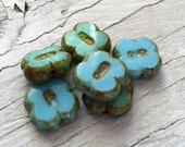 Czech glass flower beads light turquoise blue 4 leaf clovers pack of 6