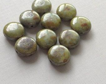 Czech glass beads - puffed coin beads green picasso 10