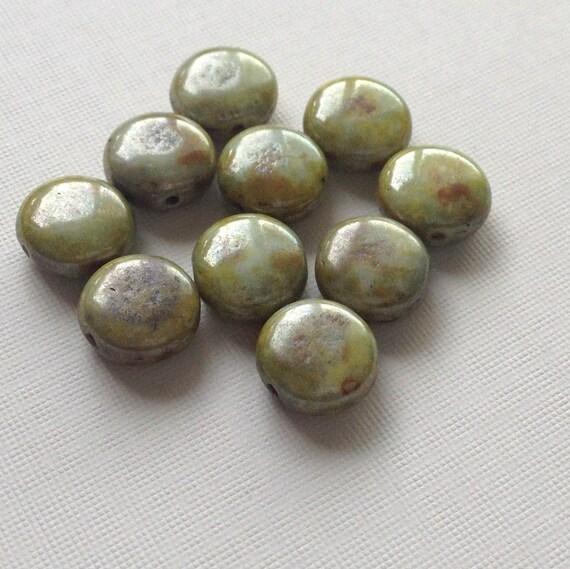 Czech glass puffed coin beads green picasso 10
