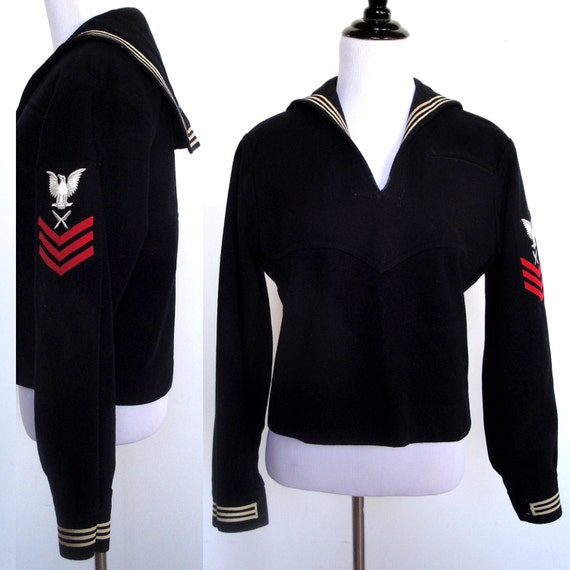 Vintage Navy Uniform Top - U.S. Military Wool Shirt 1940's 40's ...