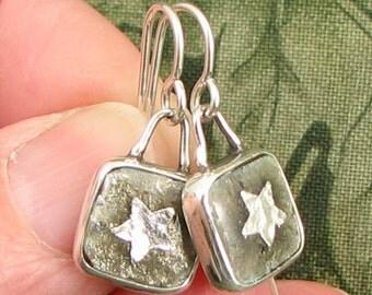 STAR Earrings - sterling bezel set enamel stars gray and silver squares - OOAK