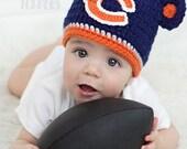 Crocheted CHICAGO BEARS Hat Cap beanie baby girl boy ears or pom poms