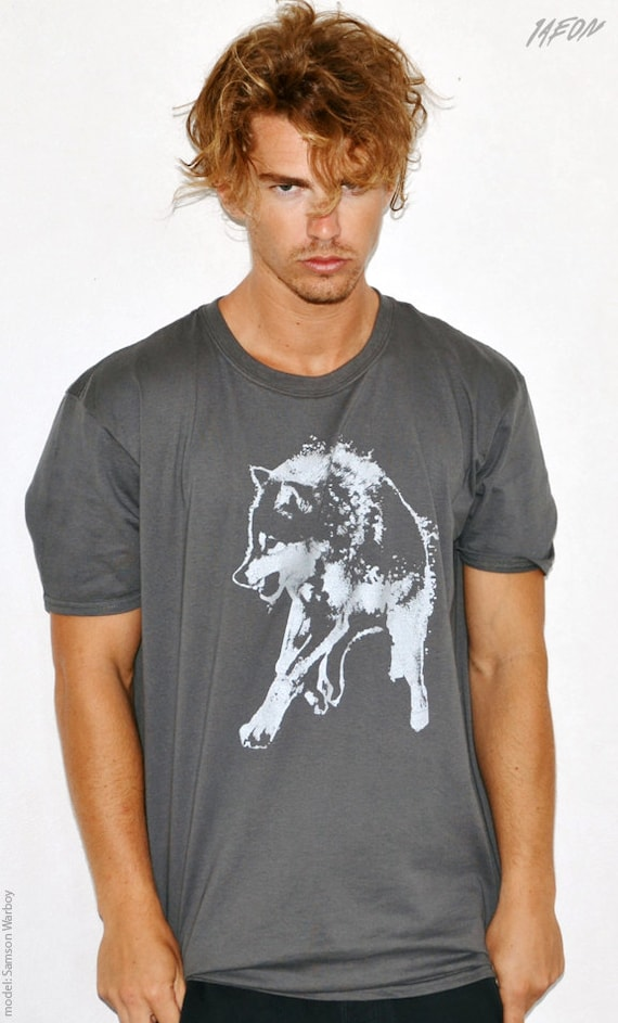 wolf t-shirt, for him, mens clothing, wolf shirt, mens graphic tee, free shipping, gray wolf tee, wolf t-shirt, mens S-XXL