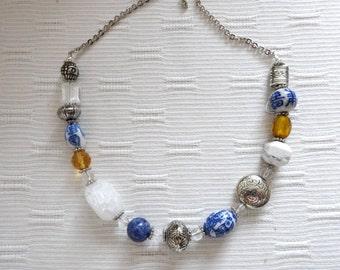 Porcelain Potpourri Blue White Yellow Necklace