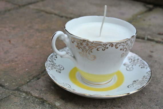 Gold and yellow teacup candle
