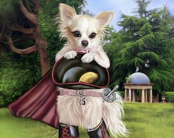 Custom Pet Portrait Story Book Character Painting on Canvas 16 x 20 inches Chihuahua Dog Portrait from your photo
