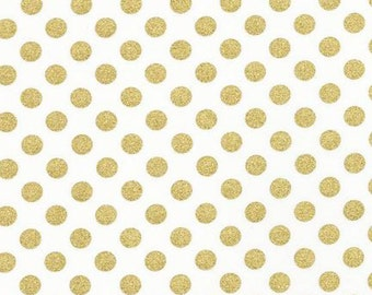Robert Kaufman Spot On Blanc Gold White Quilting Apparel Fabric BTY