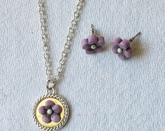 Children's Necklace & Earring Set - Purple Flowers