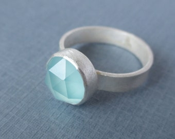 LIMITED EDITION Aqua Blue Green Chalcedony Ring. Sterling Silver and Fine Silver.  Statement Ring.