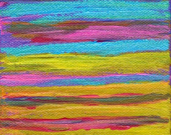 SALE Blurred Lines Abstract Painting Original Art Pink Yellow Blue