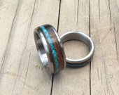 Wedding Ring Set - Titanium Rings with Desert Ironwood and Turquoise Inlays - Wood Ring - Titanium Ring - Handmade Ring - His and Hers Set