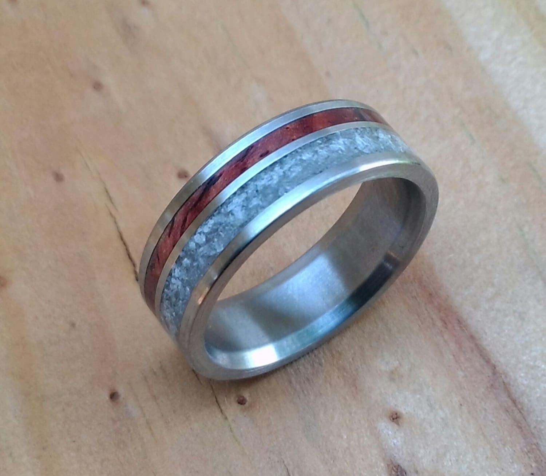 Titanium Ring Cocobolo with Rose Quartz Wood Ring Stone
