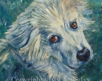 "12"" x 12"" YOUR PET PAINTED: Custom Animal Portrait, 250.00 (2 payments of 125.00)"