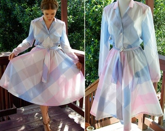 Pastel PLAID 1970's 80's Vintage Button Down Light Pink + Blue Shirt Dress with Long Sleeves // by SERBIN // size Medium