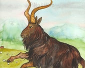 Original Art - The Devil - Watercolor Goat Painting -The Badgers Forest Tarot