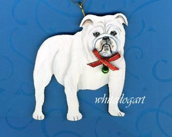 Handpainted White Bulldog Christmas Ornament