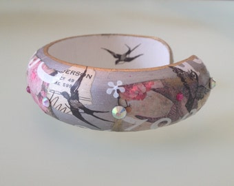 Romantic Victorian Pink, Silver and Gold Collage Decoupage Whimsical Fashion Art Bangle Wood Cuff w Swarovski Crystals and Birds