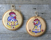 Rooster & Hen Illustration - Hand painted wall plaques