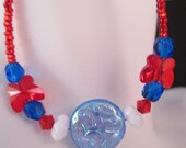 Plus Size Anklet; red white blue; 4th July; Memorial Day; Independence Day; Swarovski butterfly; Czech glass; filigree and lobster clasp