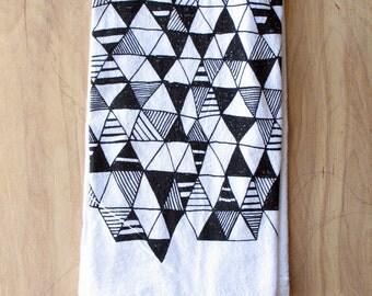 Geometric Tea Towel - Silkscreened - 100% Cotton - Flour Sack Tea Towel