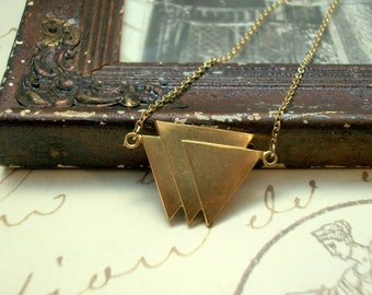 Gold Brass Geometric Triangular Art Deco Style Pendant Necklace Minimalist Simple Retro
