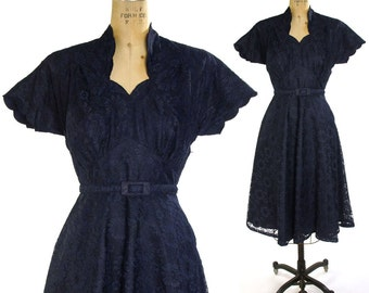 1950s Lace Cocktail Dress in Navy Blue